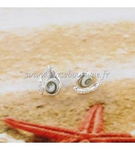 Earrings silver nails Eye of Saint Lucia round and zirconium oxide fantasy shape