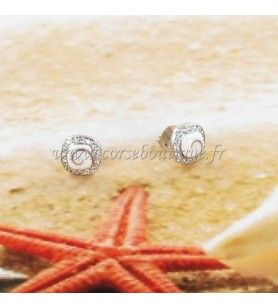 Boucles d'oreilles clous en argent oeil de Sainte Lucie carré et contour en oxyde de zirconium