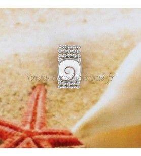 Pendentif oeil de Sainte Lucie carré et ruban façon perles en argent  - Pendentif œil de Sainte Lucie carré et ruban façon perle