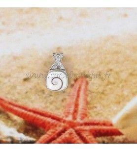 Pendentif en argent et oeil de Sainte Lucie carré avec bélière croisée en oxyde de zirconium