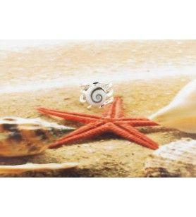 Bague Oeil de Sainte Lucie rond avec anneau argent fantaisie  - Bague Œil de Sainte Lucie rond avec anneau argent fantaisie