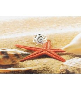 Round Eye of Saint Lucia ring with fancy silver ring