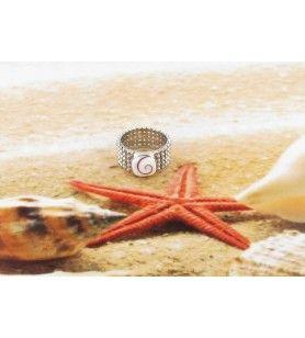 Bague Oeil de Sainte Lucie carré avec un anneau ruban façon perles en argent