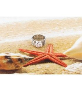 Ring Eye of Saint Lucia square eye of Sainte Lucie with a ribbon ring like silver beads
