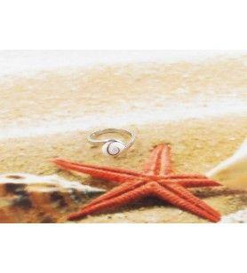 Zilveren ring Oog van Saint Lucia amandelvorm