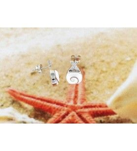 Silver earrings and square eye of Saint Lucia with crossed zirconium oxide ribbon