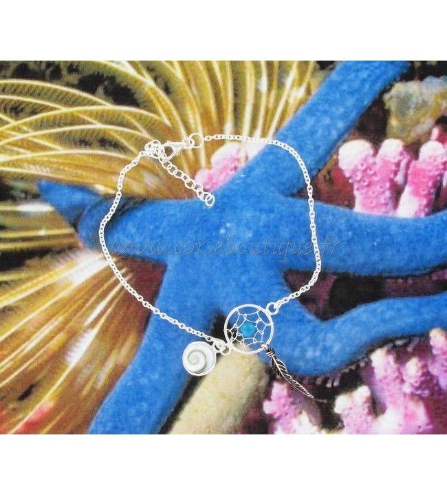 Bracelet Oeil de Sainte Lucie attrape rêve argent perle bleue