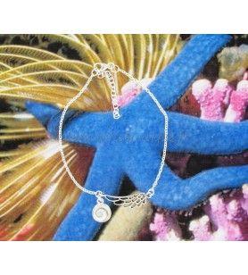 Armband mit einem silbernen Flügel und einem Sankt-Lucia-Augen-Anhänger 15.5