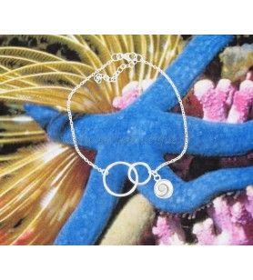 Bracelet double anneaux entrelacés en argent et d'une breloque oeil de Sainte Lucie