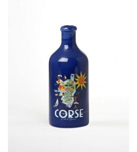 Casa Ceramic Bottle Card Corsica Map  -  Casa Ceramic Bottle Card Corsica Map Dimensions: 21 cm high, 8 cm in diameter. Capacity