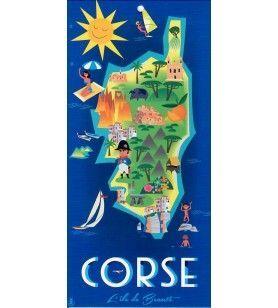 Serviette Plage Microfibre Casa carte Corse
