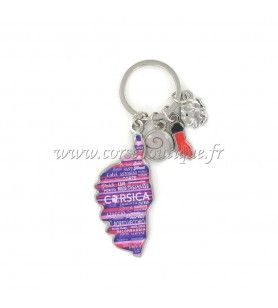 Charms key ring Corsica card camouflaged pink