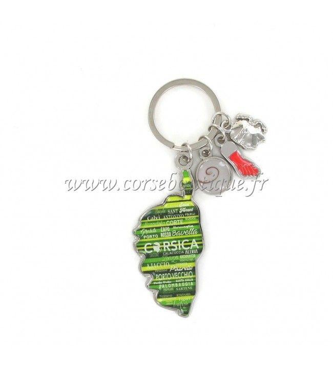 Porte clé charms carte camouflé vert