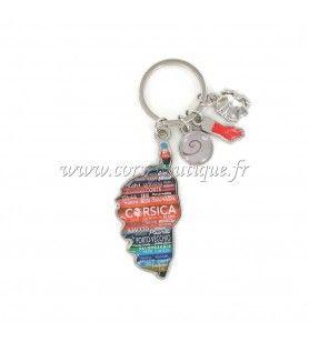 Porte clé charms carte multi rayures  - Porte clé charms carte multi rayures Avec breloques œil de St Lucie, Main, Tête de Maure