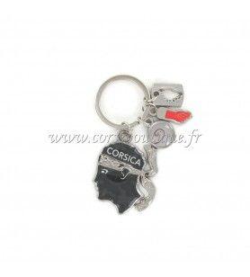 Porte clé charms tête camouflé gris  - Porte clé charms tête camouflé gris Avec breloques œil de St Lucie, Main, Tête de Maure D