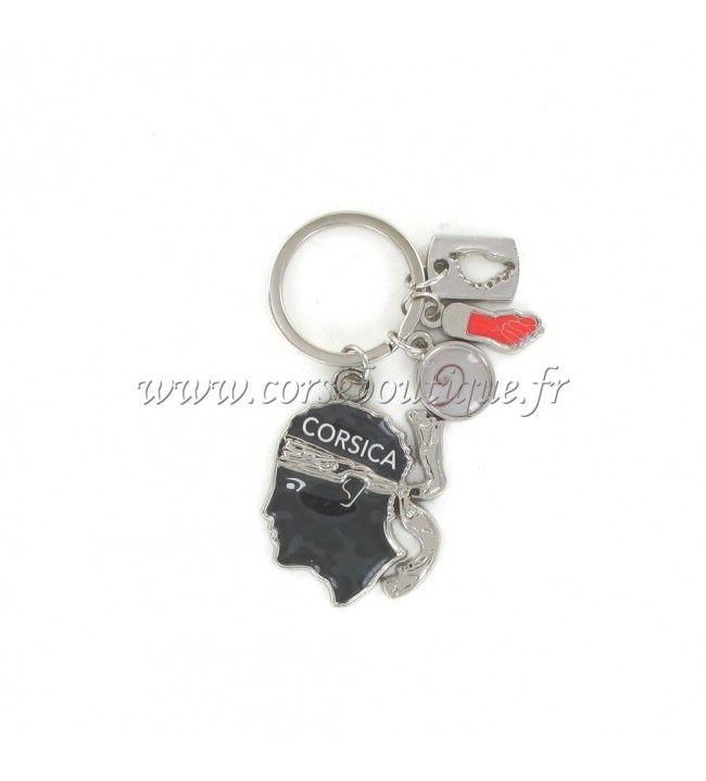 Porte clé charms tête camouflé gris