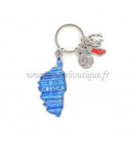Porte clé charms carte camouflé bleu  - Porte clé charms carte camouflé bleu Avec breloques œil de St Lucie, Main, Tête de Maure