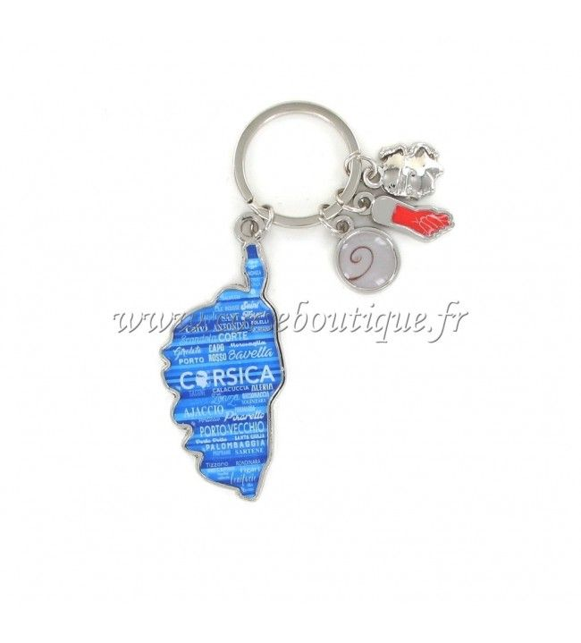 Keychain charms card camouflaged blue