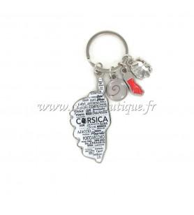 Porte clé charms carte fond blanc