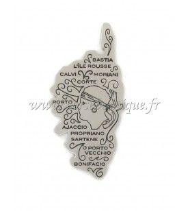 Magnet metal map Corsica and head of Moorish
