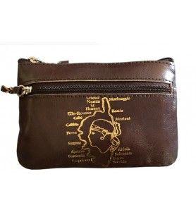 Leather purse 4 zippers large model Corsica  - Leather purse 4 zippers large model Corsica