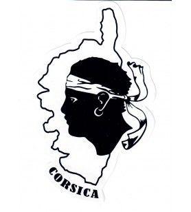 Adesivo testa di moro e mappa della Corsica 16 x 10 cm 2.5