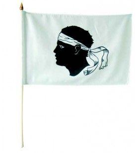 Korsika Flagge mit Stock 15X10  - Fahne mit Stock 15X10