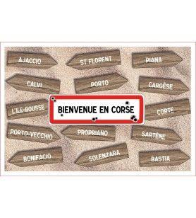 Torchon panneau Bienvenue en Corse 60 x 40 cm