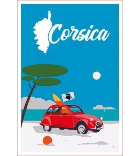 Torchon décor 2 CV Corsica  - Torchon décor 2 CV Corsica