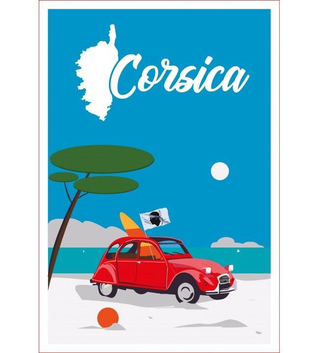 Torchon 2 CV Corsica 60 x 40 cm