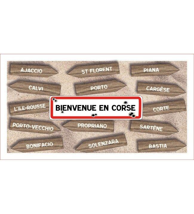 Lavette panneau Bienvenue en Corse 41 x 21 cm