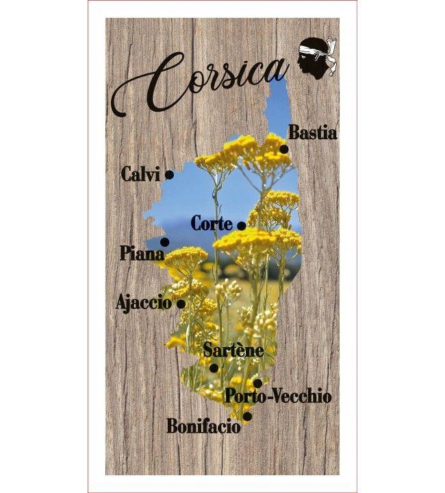 Lavette carte Corse immortelle 41 x 21 cm
