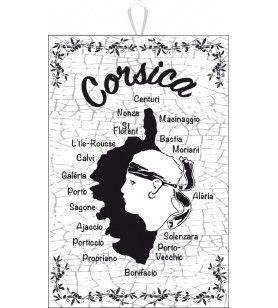 Torchon noir et blanc Carte Corse