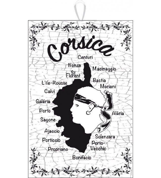 Torchon Carte Corse noir / blanc 50 x 75 cm