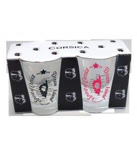 Corsica coffee glasses batch of 2 colors Black / Pink  - Coffee glasses Corsica color Black / Pink 2-piece box