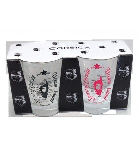 Koffieglazen set van 2 Zwart /Roze