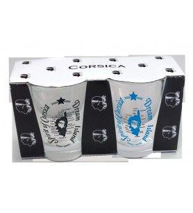 Korsika Kaffeegläser Charge von 2 Farben schwarz / blau