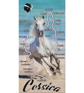 White horse decoration towel and Corsica map