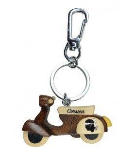 Porte clés scooter corsica en bois avec mousqueton