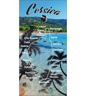 Serviette palmier et plage Corsica  coton / microfibre