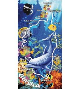 Serviette décor fond marin et dauphin corsica