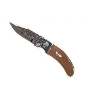 Couteau 21 cm finition orfèvre lame gravée et mitre tête de Maure
