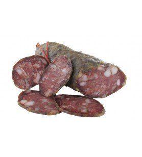 Wild boar sausage  - Composition: Wild boar meat 50%, lean and fatty pork, salt, spices, sugar, preservative, flavourings. Weigh