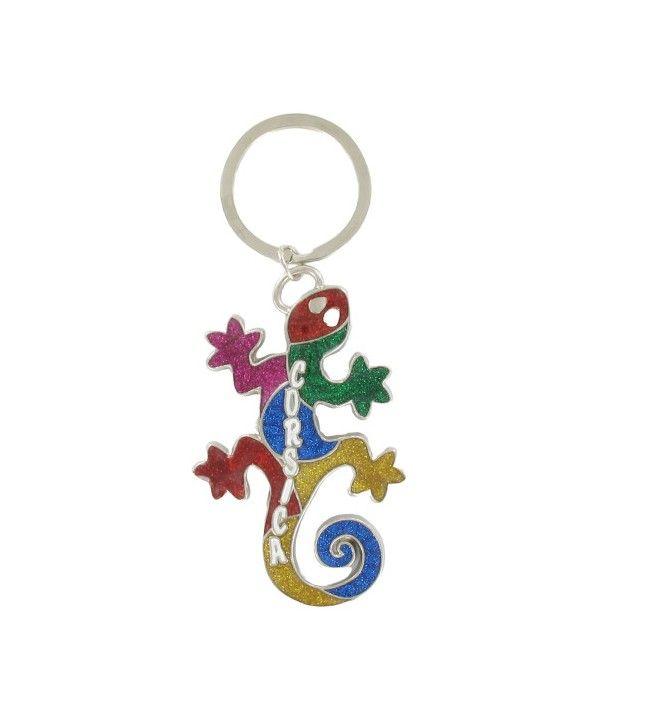 Coloured salamander metal key ring