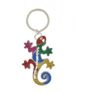 Gekleurde salamander metalen sleutelhanger