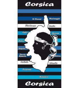 Blue striped background towel decor map Corsica and cities  - Beach towel background striped blue décor map Corsica and cities