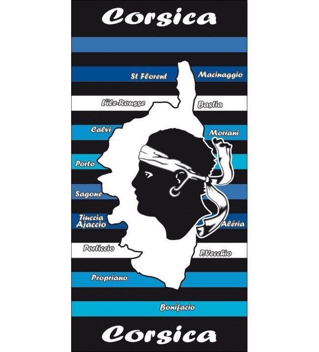 Serviette carte Corse rayée bleue  coton / microfibre