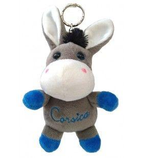 Keyring plush embroidered donkey Corsica 6.3