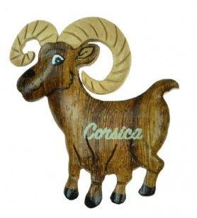Imán de oveja corsa de madera  - Imán de oveja corsa de madera