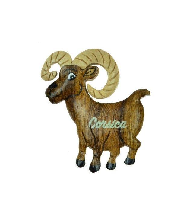Magnet mouflon corse en bois